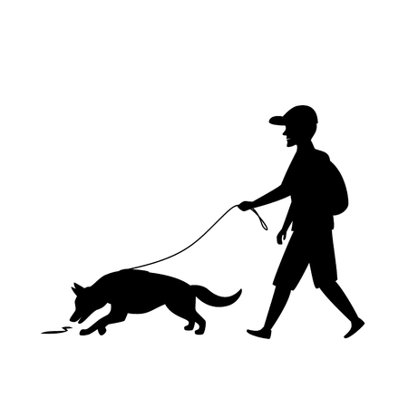 man exercising with dog mantrailing silhouette graphic