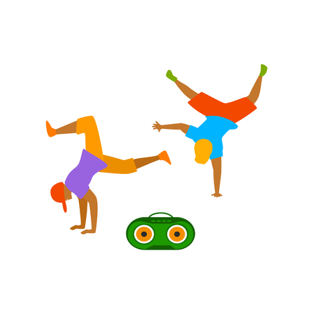 young men dancing breakdance  scene isolated vector illustration