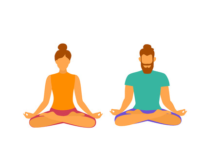 man and woman meditating in lotus pose vector graphic Иллюстрация