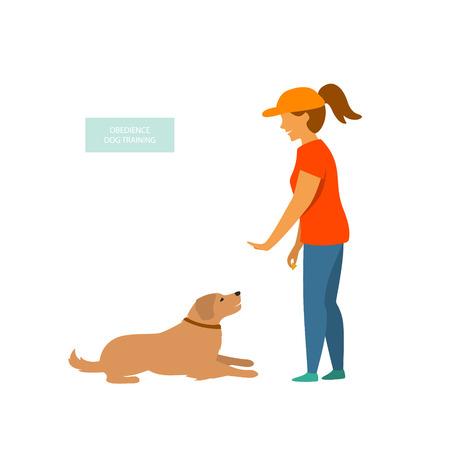 Mujer entrenando a un perro comandos básicos aislados ilustración vectorial
