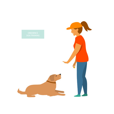 woman training a dog basic commands isolated vector illustration