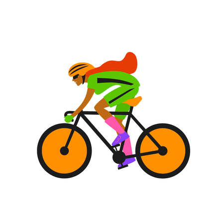 quirky woman race cyclist, riding bike vector illustration