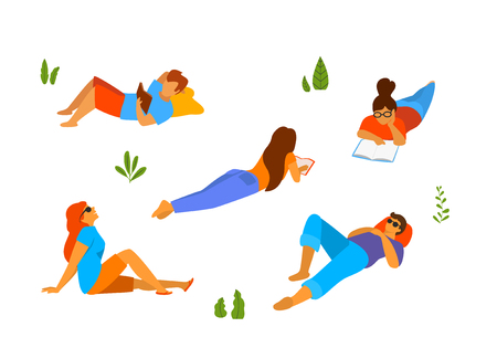 young people relaxing lying down sleeping, getting a rest reading books in the park set Illustration