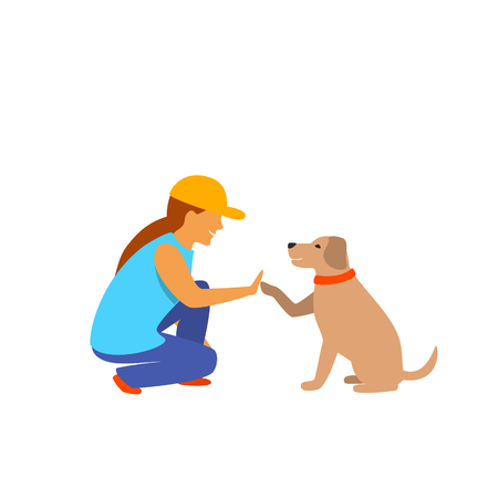 girl and dog greeting isolated vector graphic scene Illustration