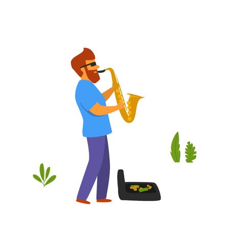 musicien de rue jouant du saxophone dans la scène graphique vectorielle de parc Vecteurs