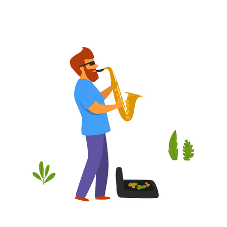 street musician playing saxophone in the park vector graphic scene Stock Illustratie