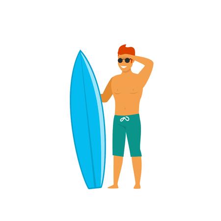 Hombre surfista de pie con tabla de surf esperando mirando las olas ilustración vectorial