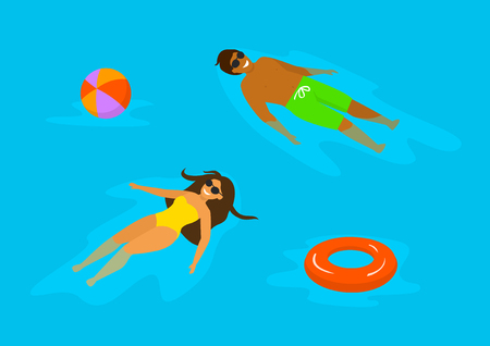 man and woman swimming relaxing in the pool Ilustração