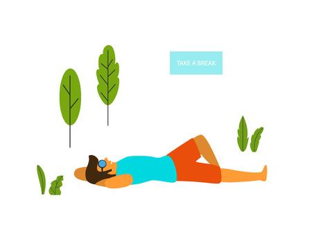 man relaxing lying down in the park vector graphic