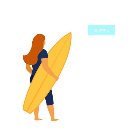 Mujer joven surfista de pie en la parte trasera con la ilustración de vector de tabla de surf