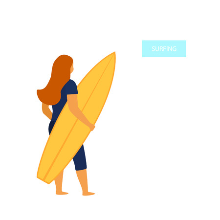young woman surfer standing backside with surfboard vector illustration