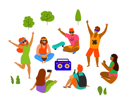 group of yong people, men and women celebrating, dancing, party, playing chilling in the park isolated vector illustration scene Illustration