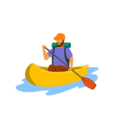 young man traveling paddling canoe isolated vector illustration