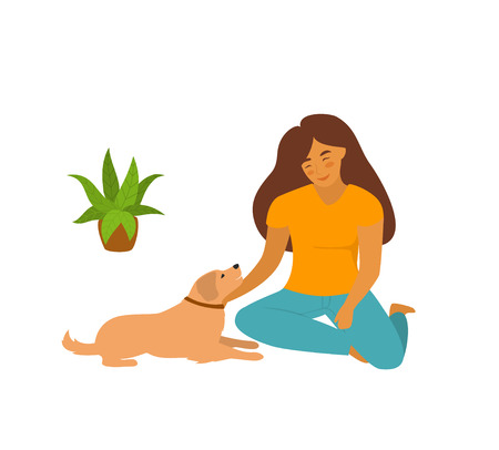 cute young woman sitting with her pet dog on the floor at home isolated vector illustration scene