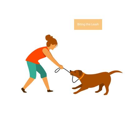 Hund, der sich beim Gehen schlecht benimmt, zieht beim Gehen an der Leine beißende Vektorillustrationsgrafikszene Vektorgrafik
