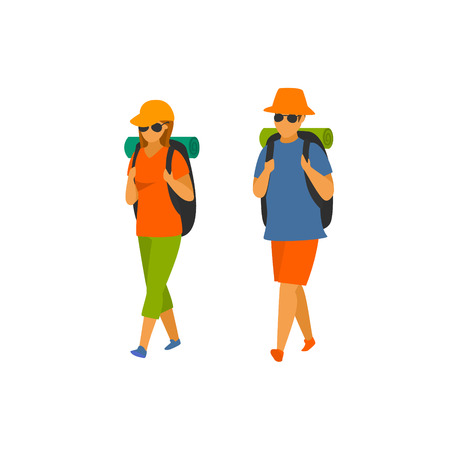 man and woman hikers traveling with backpacks vector ilustration