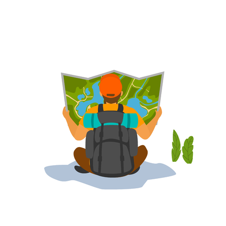 man hiker looking into the map backside view vector graphic
