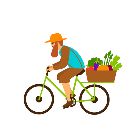 farmer delivers fresh organic vegetables products riding a bike Banque d'images - 112048952