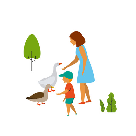 woman and child feeding birds in the park vector illustration scene