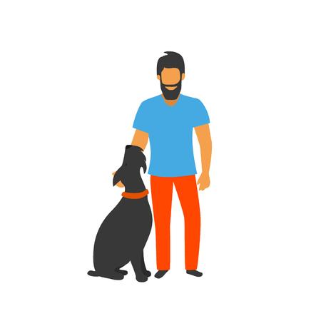 Hombre de pie con su ilustración de vector de perro bien entrenado