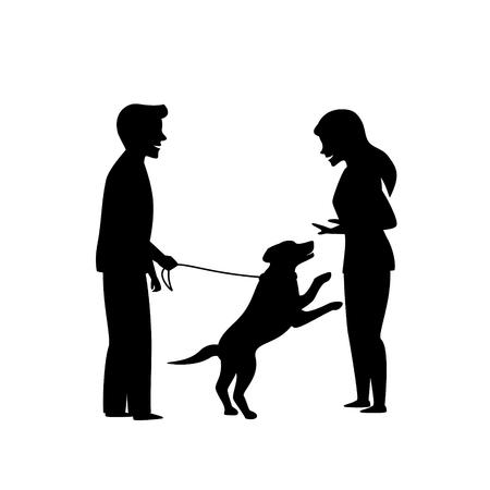 chien excité sautant sur les gens, scène graphique de silhouette de formation pour animaux d'obéissance