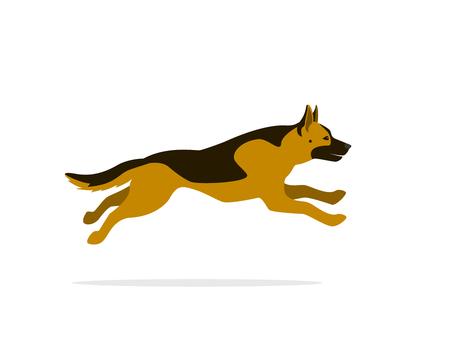 german shepherd running cartoon vector graphic isolated