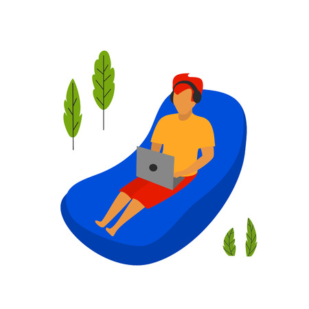 young man workoing on a laptop lying on inflatable lounge hammock