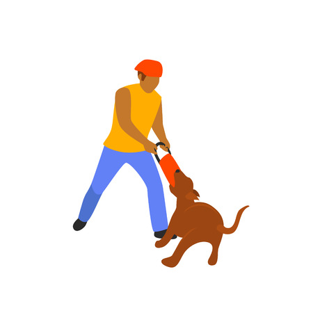 man playing with his dog tugging game isolated vector illustration scene