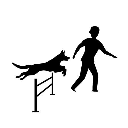 graphique de silhouette de formation de chien agility