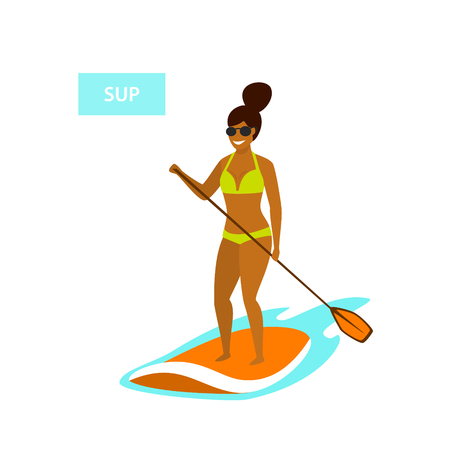cute girl stand up paddling in the sea isolated vector illustration Stok Fotoğraf - 112048969