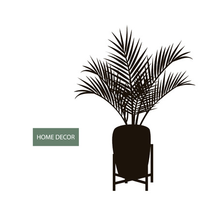 houseplant indoor palm in a pot and decorative  vintage plant stand silhouette Illustration
