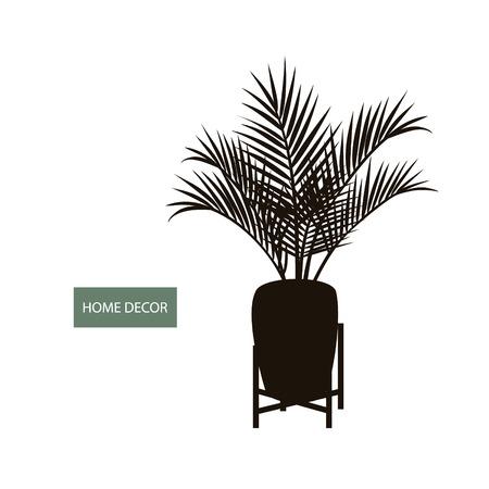 Zimmerpflanze Innenpalme in einem Topf und dekorative Vintage Pflanze stehen Silhouette Vektorgrafik