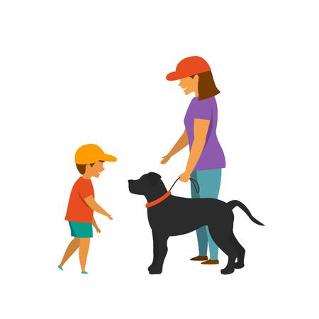 little kid boy asking for dog owner permission to tease the pet vector illustration scene