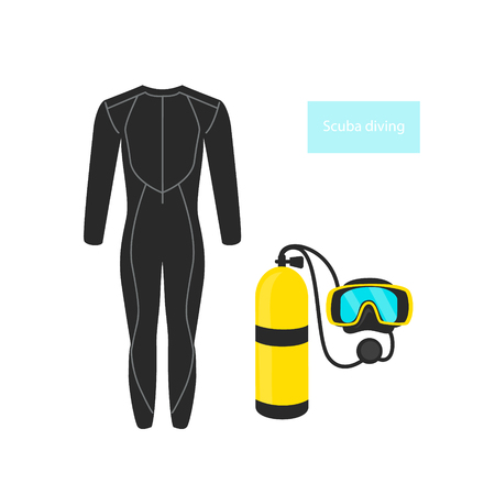 scuba diving objects, gas tank cylinder, mask, wetsuit graphic set