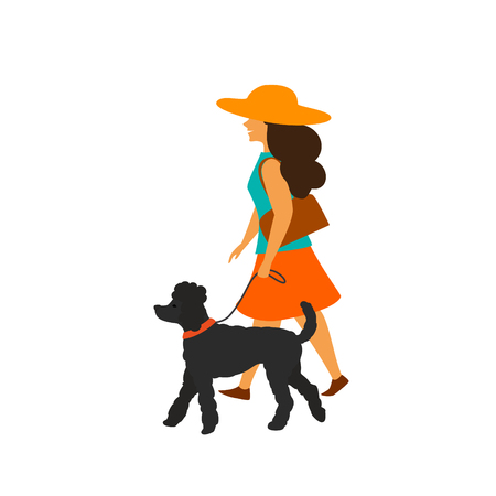 young woman walking with her dog poodle isolated vector illustration