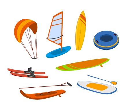 watersport items, surfboards, tubes, windsurfing water ski wakeboard kite, paddleboard graphics set