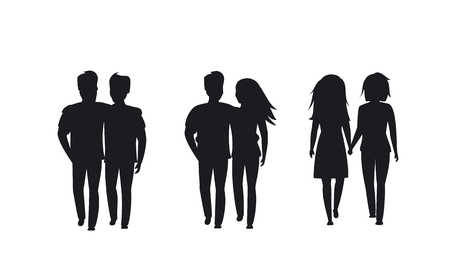 couples of different sexual orientation silhouettes isolated vector graphic Çizim