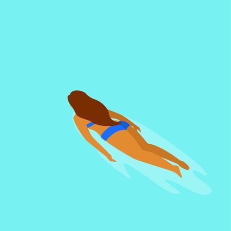 junges Mädchen, das in einer Poolrückansicht schwimmt Vektorgrafik