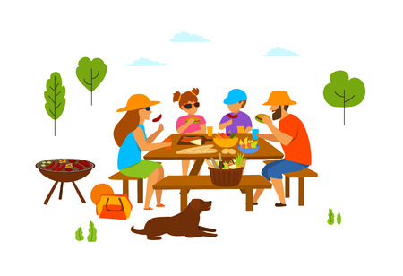 family with kids and dog at a picnic in the park, eating, grilling, make bbq, isolated vector illustration scene