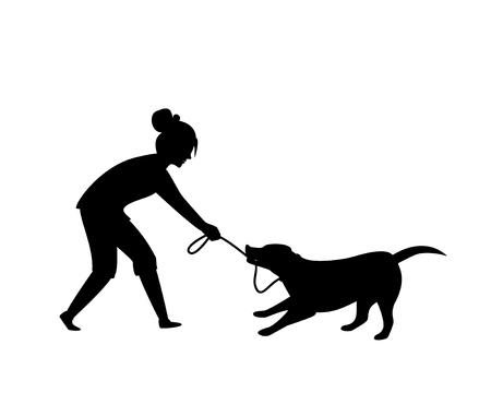 Perro portándose mal tirando mordiendo una correa mientras camina silueta ilustración vectorial escena gráfica