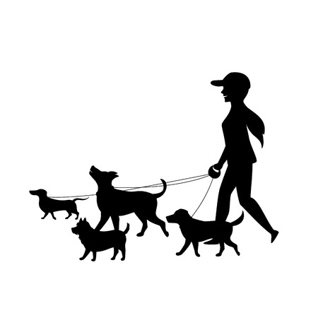 female dog walker sitter walking with group of pets silhouette vector graphic