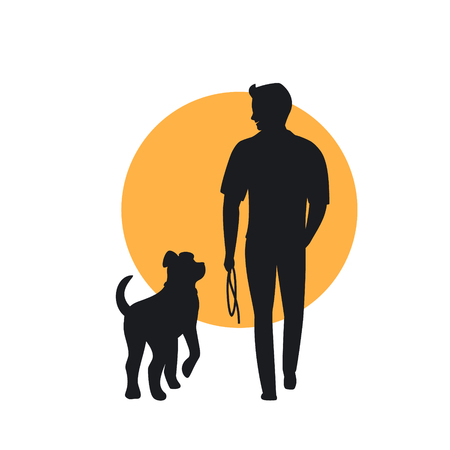 man and dog walking back view silhouette Foto de archivo - 106834965