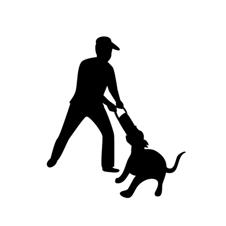 man playing with his dog tugging game silhouette isolated vector illustration scene