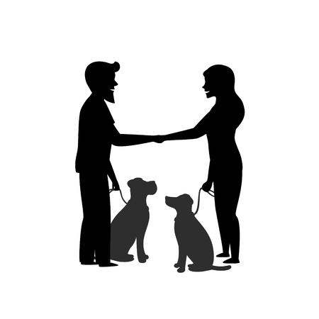 silhouette de deux propriétaires de chiens entraînant leurs animaux de compagnie à s'asseoir près de se comporter lorsqu'ils se rencontrent en se saluant graphique