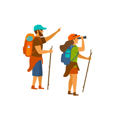 man and woman hiking sightseeing watching looking at view isolated vector illustration scene Illustration
