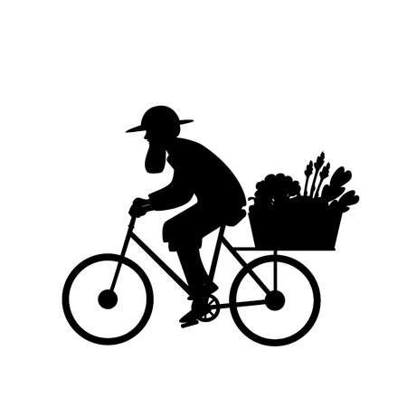 silhouette of a farmer delivering fresh vegetables isolated vector illustration Banque d'images - 111881639