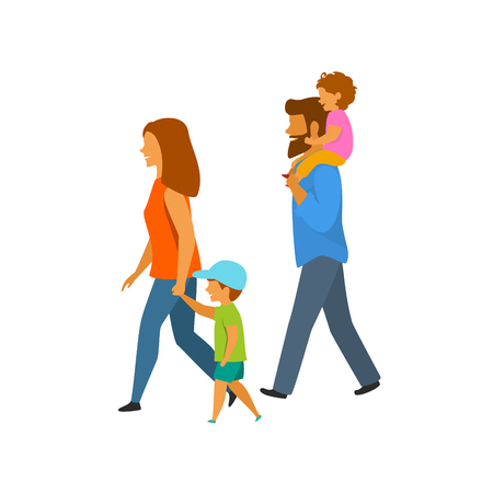 young family with children walking side view isolated vector illustration Vettoriali