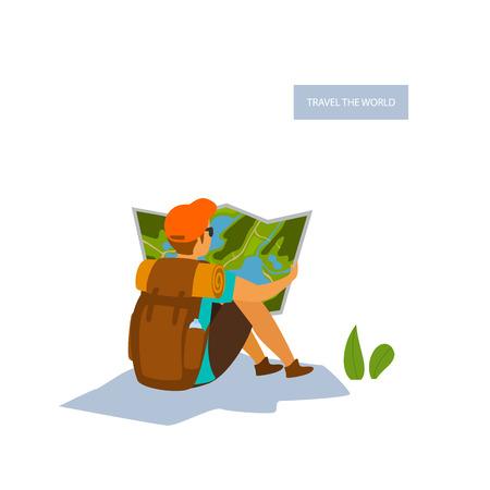 Wanderer Mann sitzt mit einer Reisekarte isolierte Vektor-Ilustration-Szene