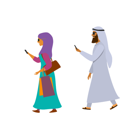 arab man and woman walking with smartphones texting cartoon vector illustration Illustration