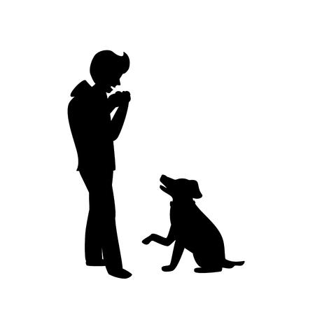 sylwetka psa błagającego o jedzenie, podczas gdy właściciel je na białym tle scena graficzna ilustracji wektorowych
